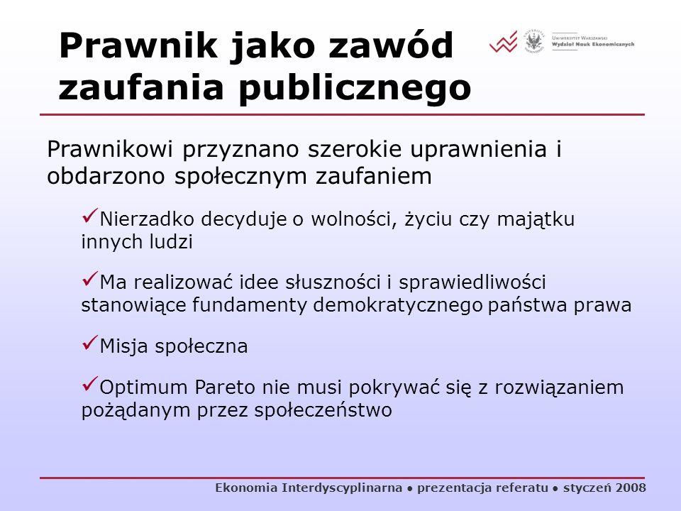 Ekonomia Interdyscyplinarna prezentacja referatu styczeń 2008 Prawnikowi przyznano szerokie uprawnienia i obdarzono społecznym zaufaniem Nierzadko dec