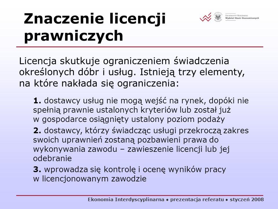 Ekonomia Interdyscyplinarna prezentacja referatu styczeń 2008 Licencja skutkuje ograniczeniem świadczenia określonych dóbr i usług. Istnieją trzy elem