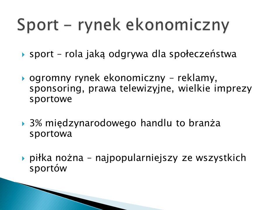 sport – rola jaką odgrywa dla społeczeństwa ogromny rynek ekonomiczny – reklamy, sponsoring, prawa telewizyjne, wielkie imprezy sportowe 3% międzynaro
