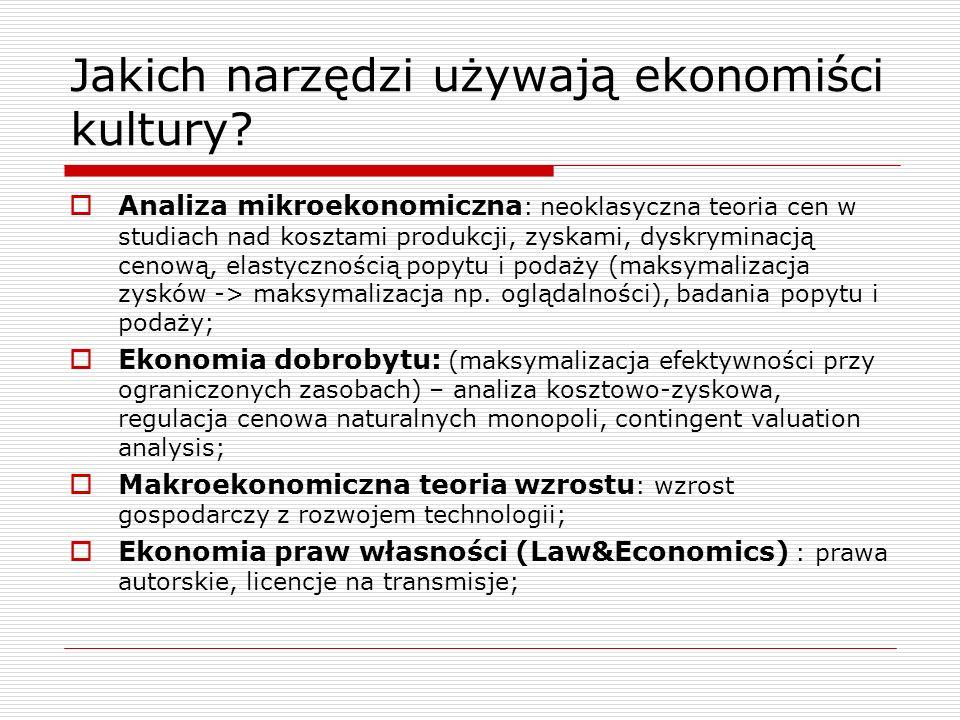 Jakich narzędzi używają ekonomiści kultury? Analiza mikroekonomiczna : neoklasyczna teoria cen w studiach nad kosztami produkcji, zyskami, dyskryminac