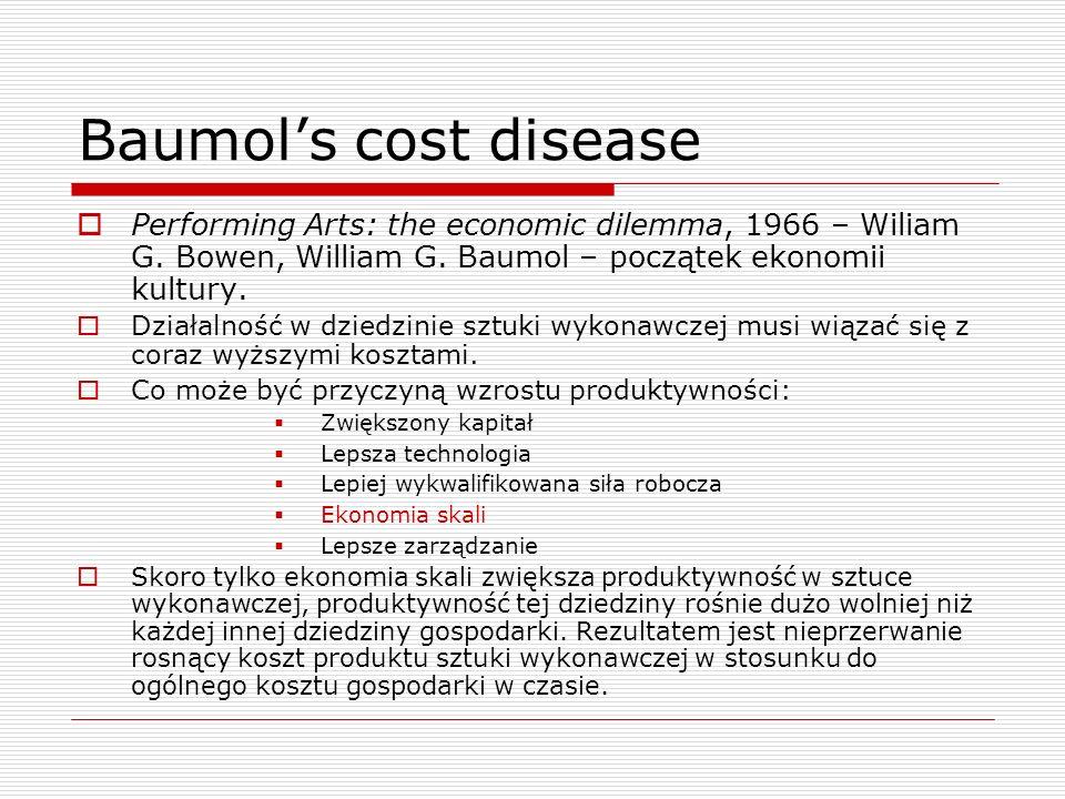 Baumols cost disease Performing Arts: the economic dilemma, 1966 – Wiliam G. Bowen, William G. Baumol – początek ekonomii kultury. Działalność w dzied