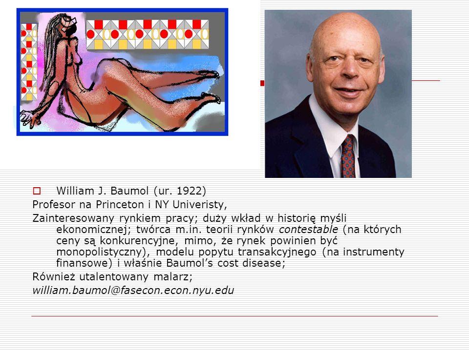 William J. Baumol (ur. 1922) Profesor na Princeton i NY Univeristy, Zainteresowany rynkiem pracy; duży wkład w historię myśli ekonomicznej; twórca m.i