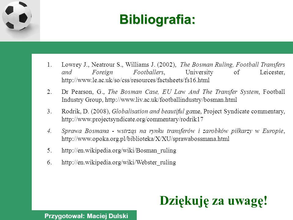 Dziękuję za uwagę. Bibliografia: Przygotował: Maciej Dulski 1.Lowrey J., Neatrour S., Williams J.