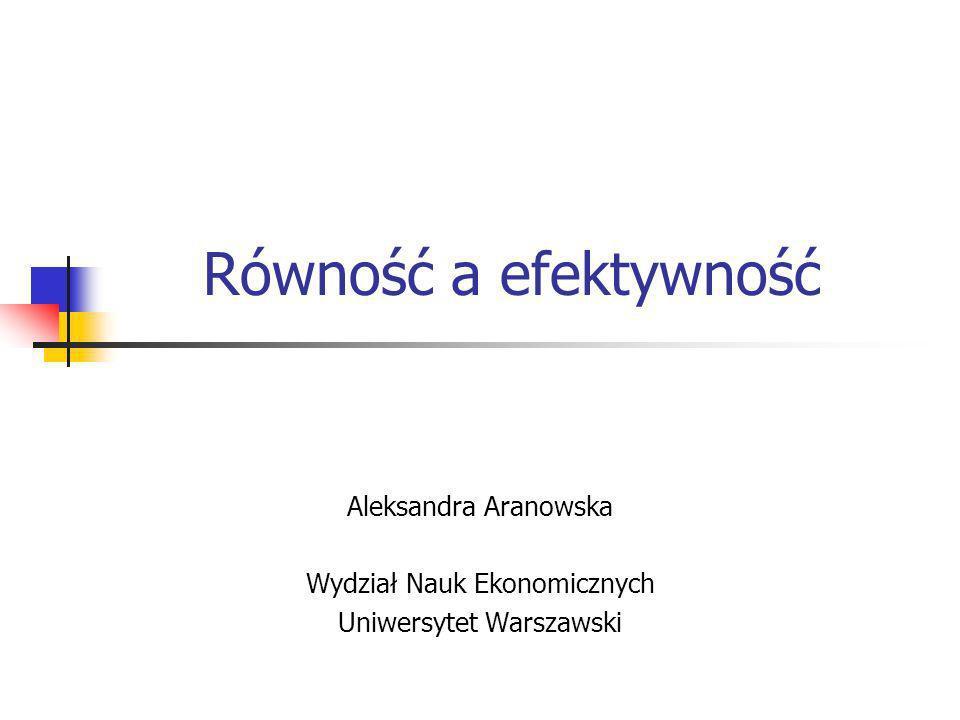 Równość a efektywność Aleksandra Aranowska Wydział Nauk Ekonomicznych Uniwersytet Warszawski