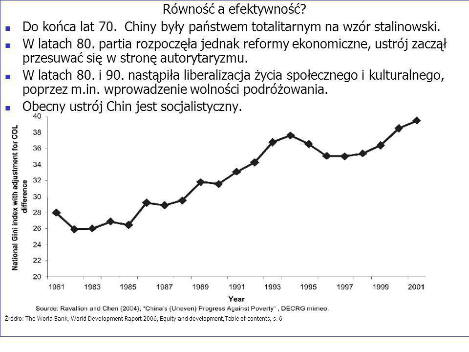 Równość a efektywność. Do końca lat 70. Chiny były państwem totalitarnym na wzór stalinowski.