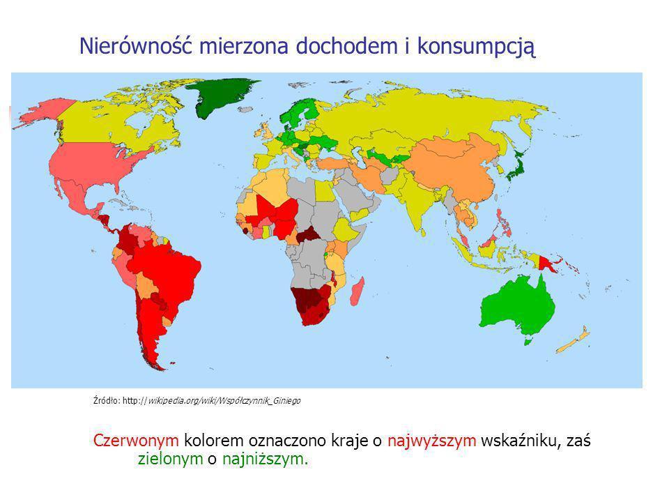 Źródło: http://wikipedia.org/wiki/Współczynnik_Giniego Czerwonym kolorem oznaczono kraje o najwyższym wskaźniku, zaś zielonym o najniższym.