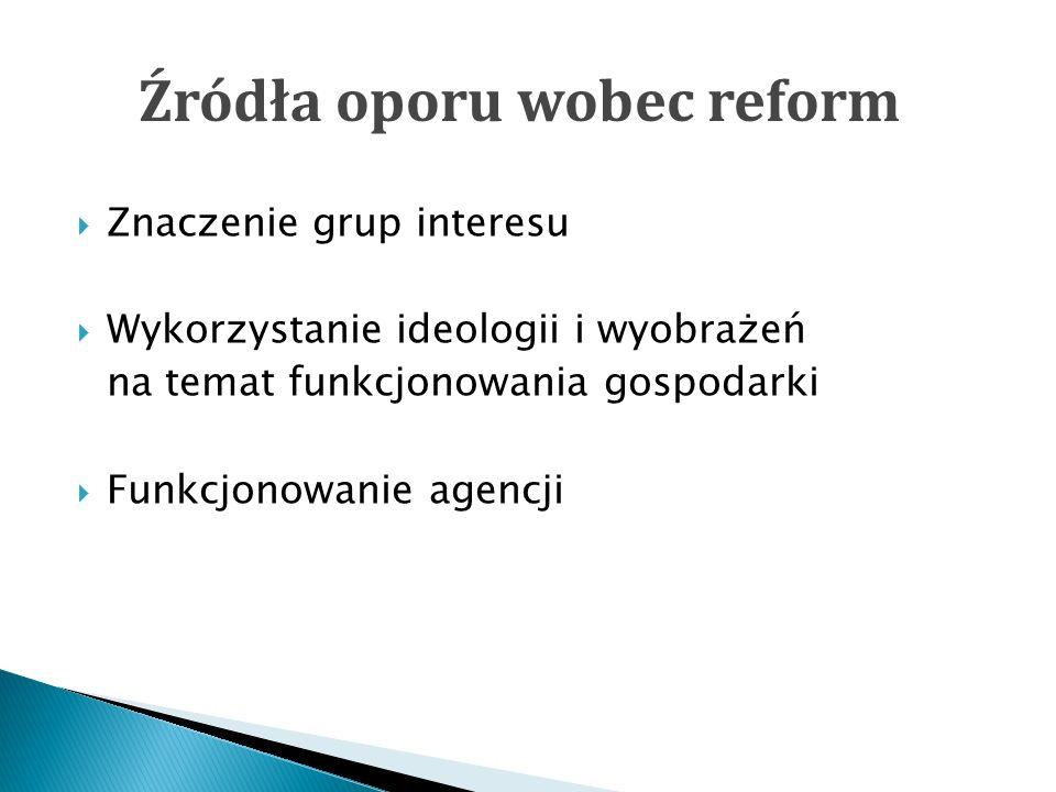 Źródła oporu wobec reform Znaczenie grup interesu Wykorzystanie ideologii i wyobrażeń na temat funkcjonowania gospodarki Funkcjonowanie agencji