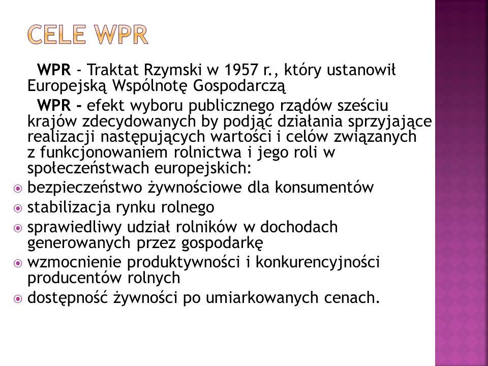 WPR - Traktat Rzymski w 1957 r., który ustanowił Europejską Wspólnotę Gospodarczą WPR - efekt wyboru publicznego rządów sześciu krajów zdecydowanych b