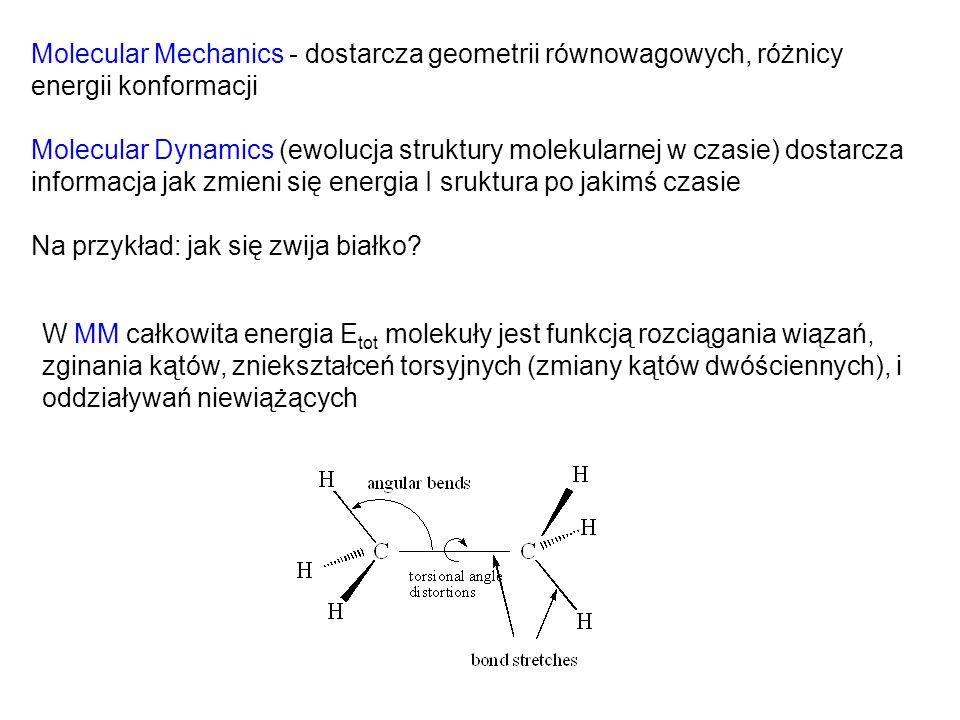 W MM całkowita energia E tot molekuły jest funkcją rozciągania wiązań, zginania kątów, zniekształceń torsyjnych (zmiany kątów dwóściennych), i oddział