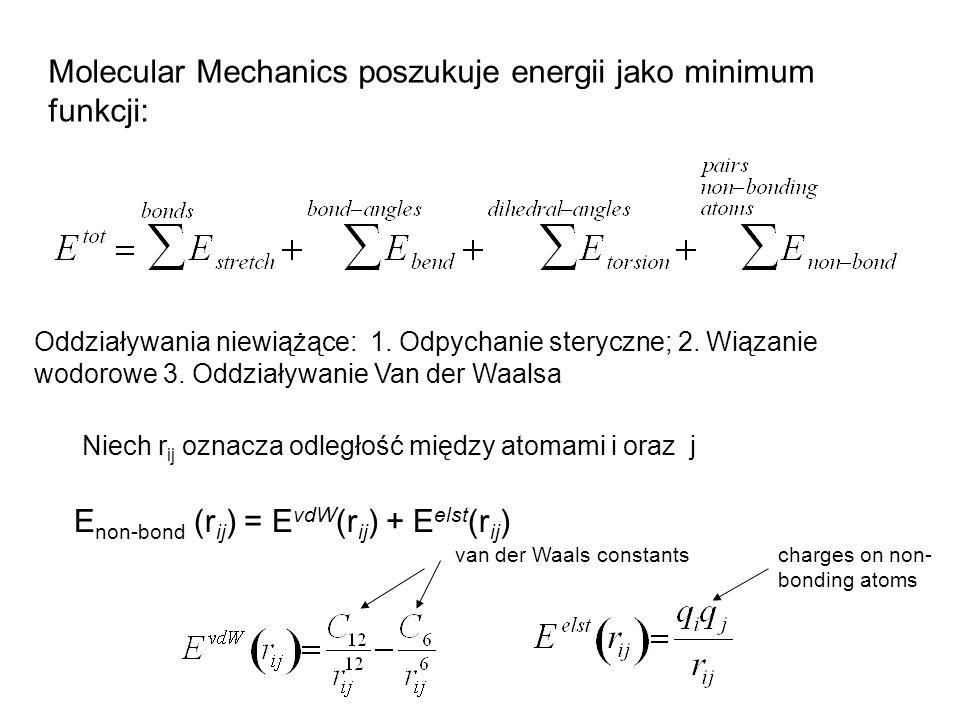 Molecular Mechanics poszukuje energii jako minimum funkcji: Oddziaływania niewiążące: 1. Odpychanie steryczne; 2. Wiązanie wodorowe 3. Oddziaływanie V