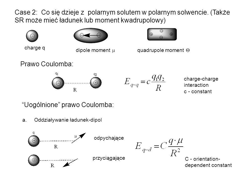 Case 2: Co się dzieje z polarnym solutem w polarnym solwencie. (Także SR może mieć ładunek lub moment kwadrupolowy) Prawo Coulomba: charge q dipole mo