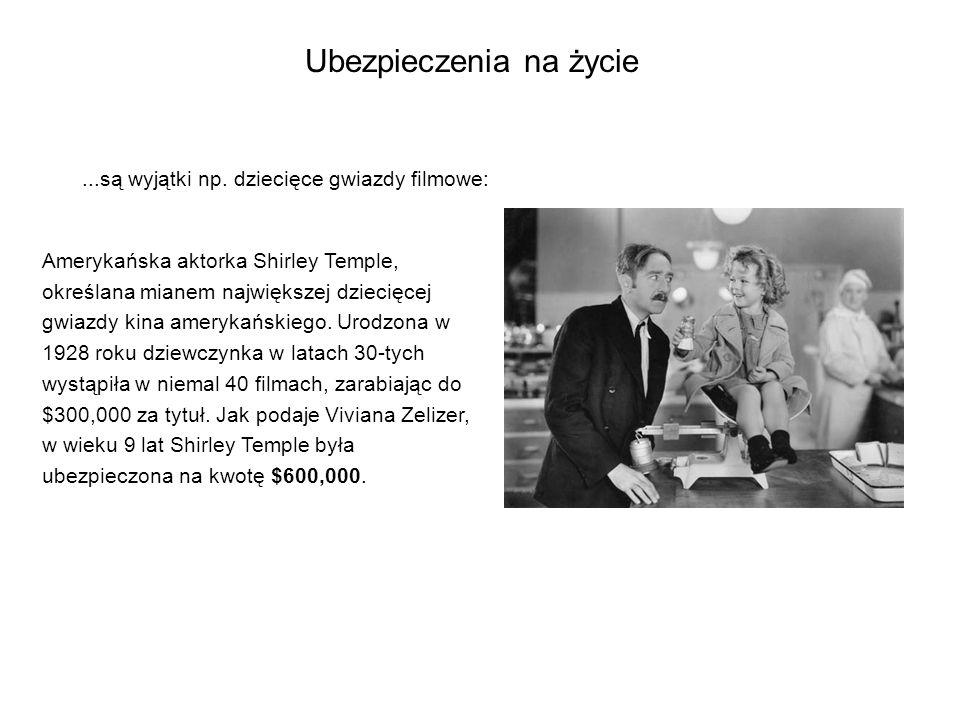 Ubezpieczenia na życie...są wyjątki np. dziecięce gwiazdy filmowe: Amerykańska aktorka Shirley Temple, określana mianem największej dziecięcej gwiazdy