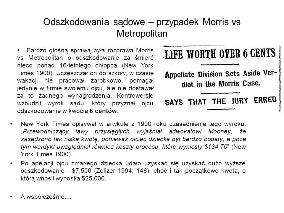 Odszkodowania sądowe – przypadek Morris vs Metropolitan New York Times opisywał w artykule z 1900 roku uzasadnienie tego wyroku:Przewodniczący ławy pr