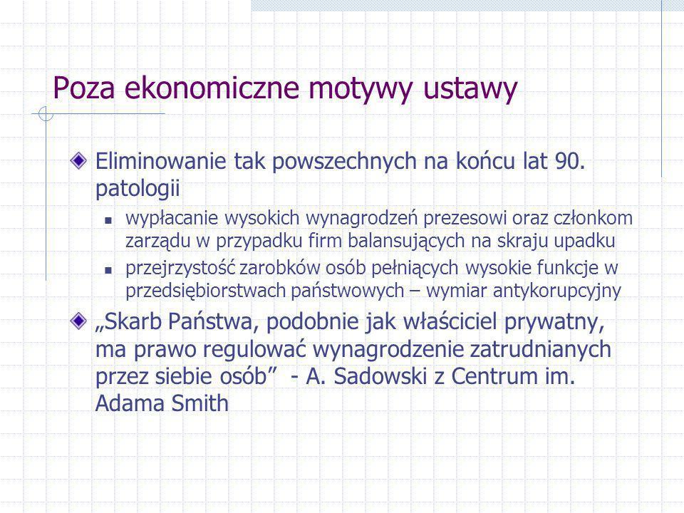 Poza ekonomiczne motywy ustawy Eliminowanie tak powszechnych na końcu lat 90. patologii wypłacanie wysokich wynagrodzeń prezesowi oraz członkom zarząd