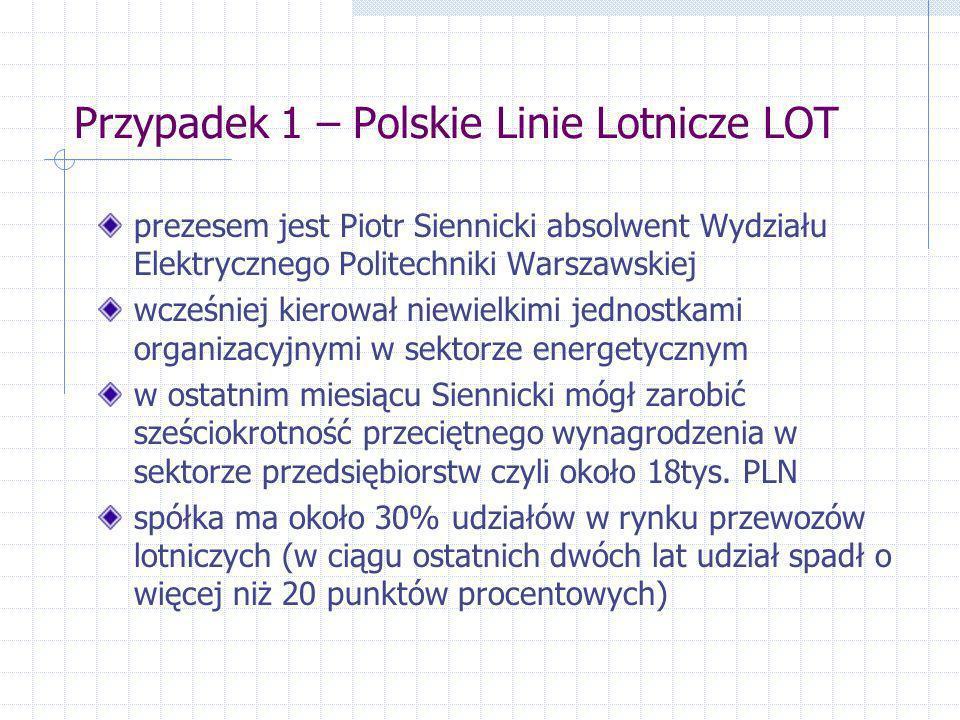 Przypadek 1 – Polskie Linie Lotnicze LOT prezesem jest Piotr Siennicki absolwent Wydziału Elektrycznego Politechniki Warszawskiej wcześniej kierował n