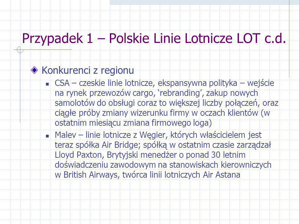 Przypadek 1 – Polskie Linie Lotnicze LOT c.d. Konkurenci z regionu CSA – czeskie linie lotnicze, ekspansywna polityka – wejście na rynek przewozów car