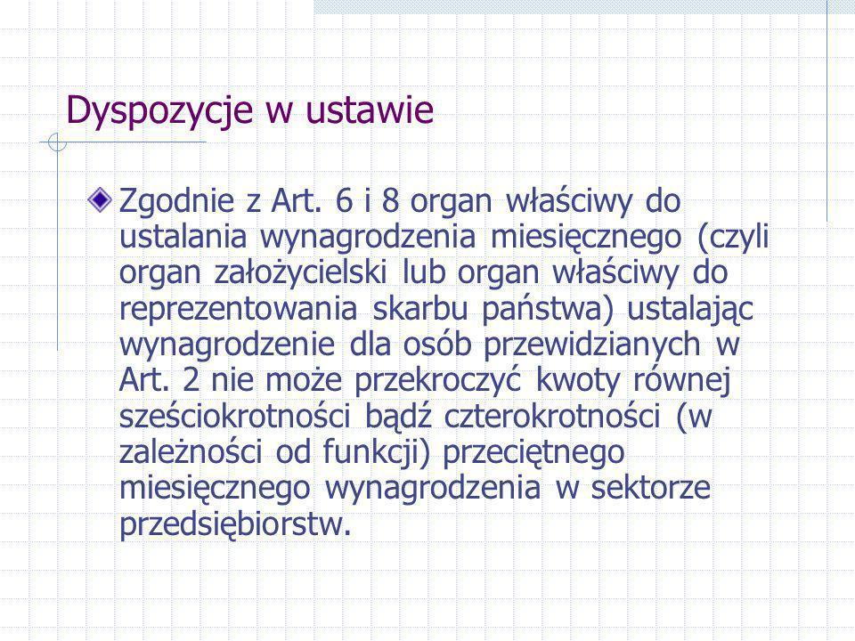 Dyspozycje w ustawie Zgodnie z Art. 6 i 8 organ właściwy do ustalania wynagrodzenia miesięcznego (czyli organ założycielski lub organ właściwy do repr
