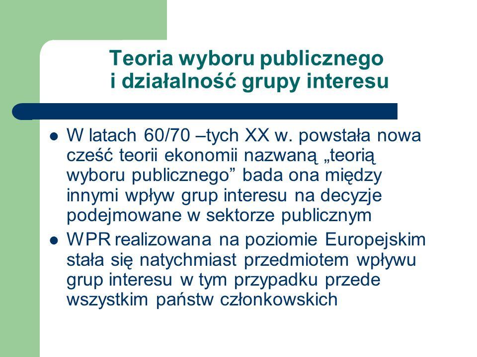Teoria wyboru publicznego i działalność grupy interesu W latach 60/70 –tych XX w. powstała nowa cześć teorii ekonomii nazwaną teorią wyboru publiczneg