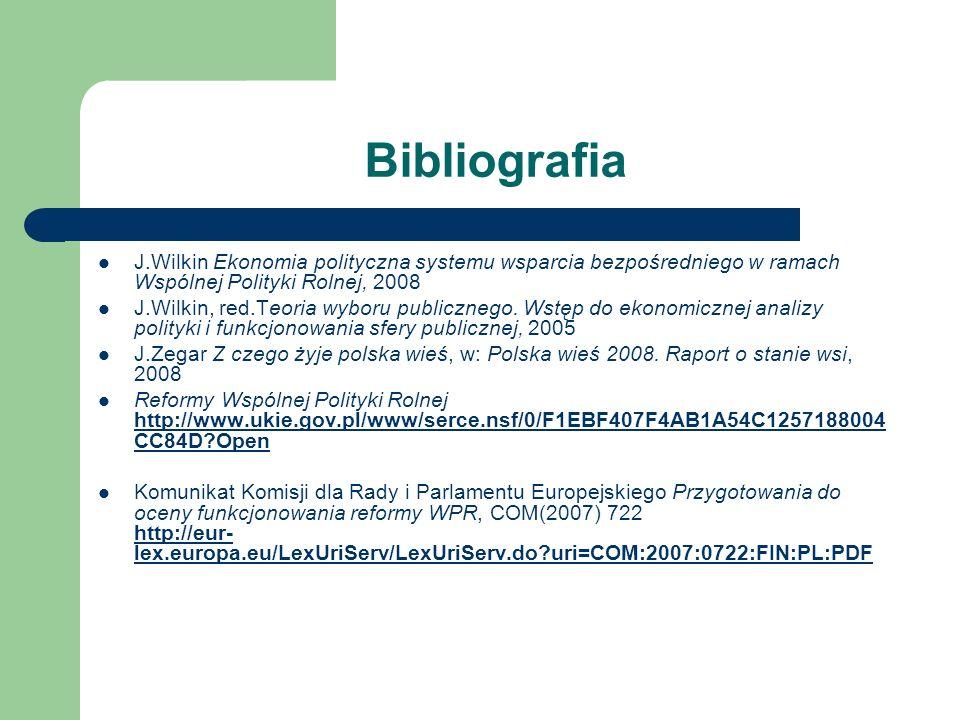 Bibliografia J.Wilkin Ekonomia polityczna systemu wsparcia bezpośredniego w ramach Wspólnej Polityki Rolnej, 2008 J.Wilkin, red.Teoria wyboru publiczn