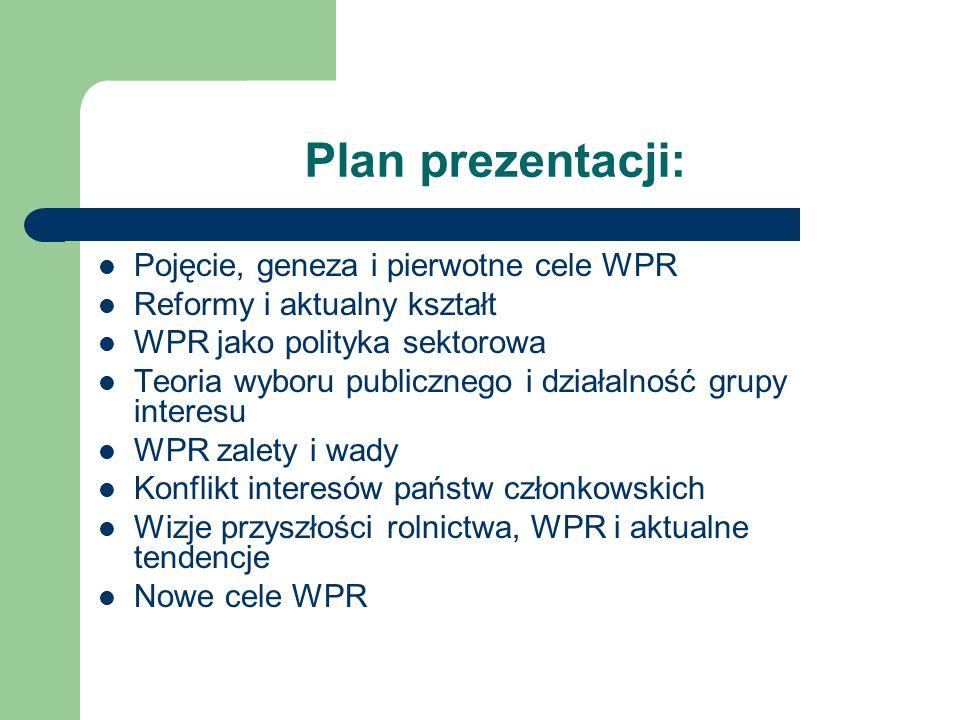 Plan prezentacji: Pojęcie, geneza i pierwotne cele WPR Reformy i aktualny kształt WPR jako polityka sektorowa Teoria wyboru publicznego i działalność