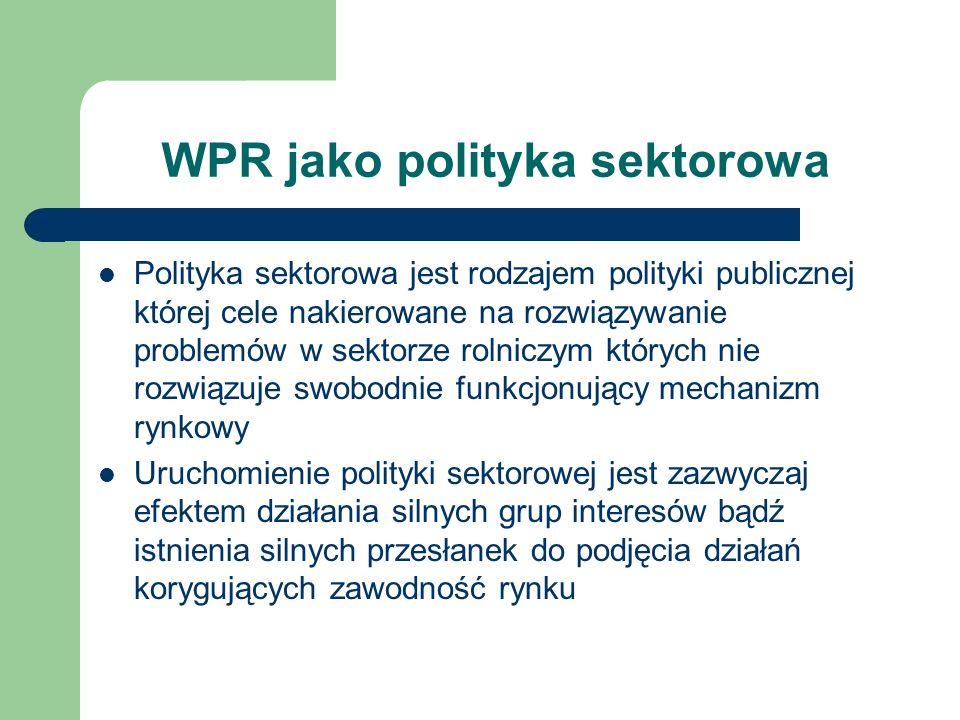 WPR jako polityka sektorowa Polityka sektorowa jest rodzajem polityki publicznej której cele nakierowane na rozwiązywanie problemów w sektorze rolnicz