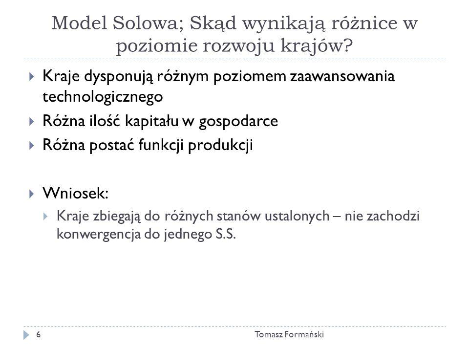 Model Solowa; Skąd wynikają różnice w poziomie rozwoju krajów.