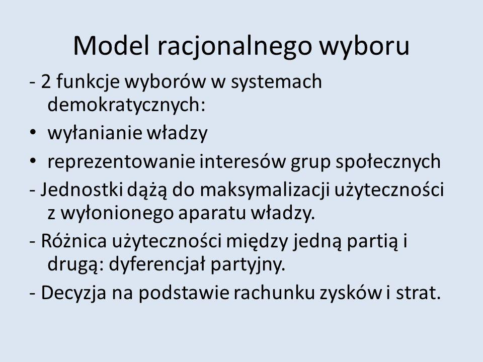 Model racjonalnego wyboru - 2 funkcje wyborów w systemach demokratycznych: wyłanianie władzy reprezentowanie interesów grup społecznych - Jednostki dą