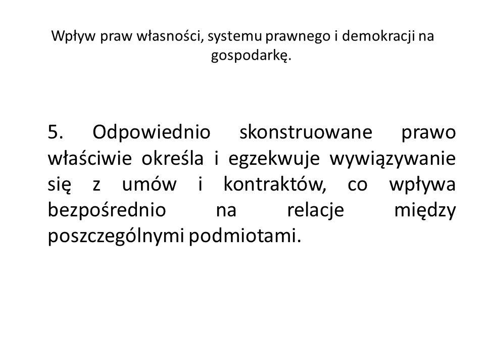 Wpływ praw własności, systemu prawnego i demokracji na gospodarkę. 5. Odpowiednio skonstruowane prawo właściwie określa i egzekwuje wywiązywanie się z