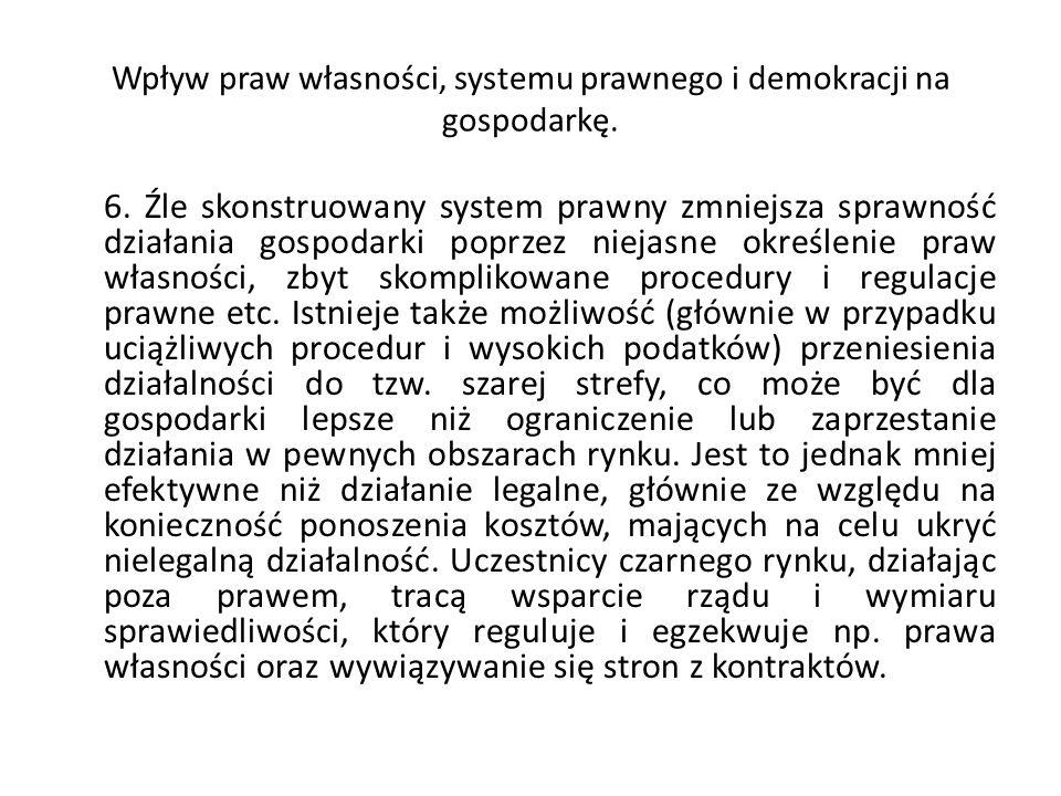 Wpływ praw własności, systemu prawnego i demokracji na gospodarkę. 6. Źle skonstruowany system prawny zmniejsza sprawność działania gospodarki poprzez