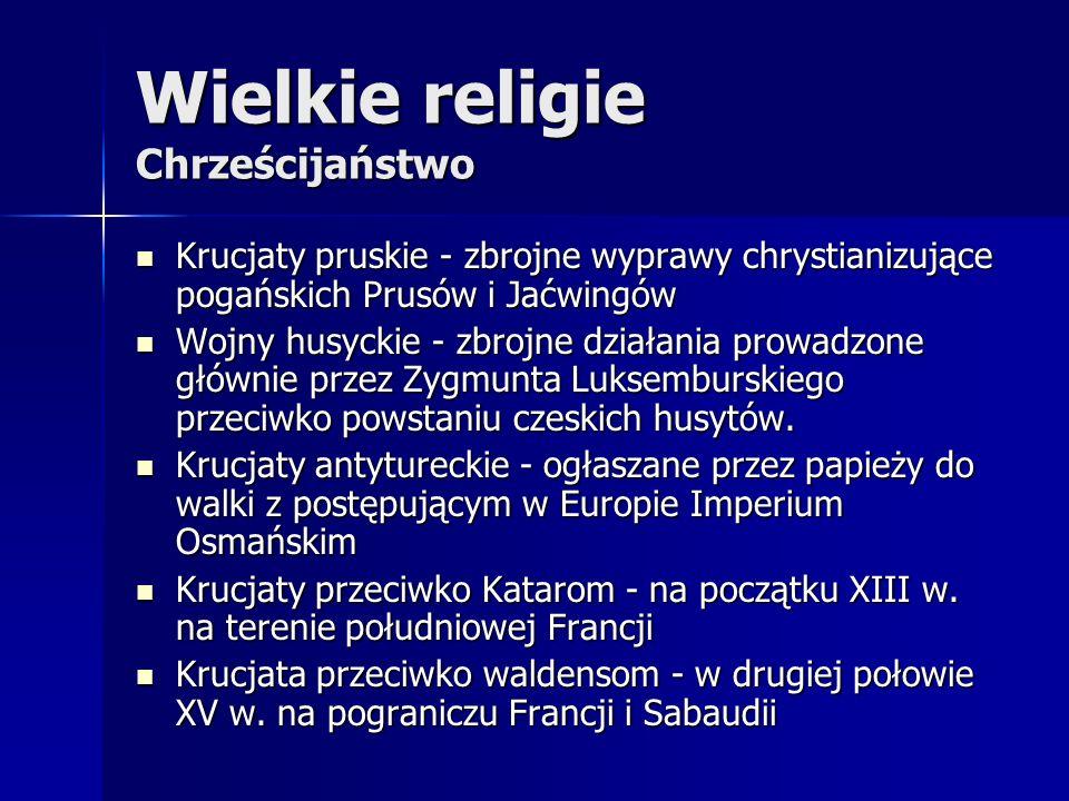 Wielkie religie Chrześcijaństwo Krucjaty pruskie - zbrojne wyprawy chrystianizujące pogańskich Prusów i Jaćwingów Krucjaty pruskie - zbrojne wyprawy c