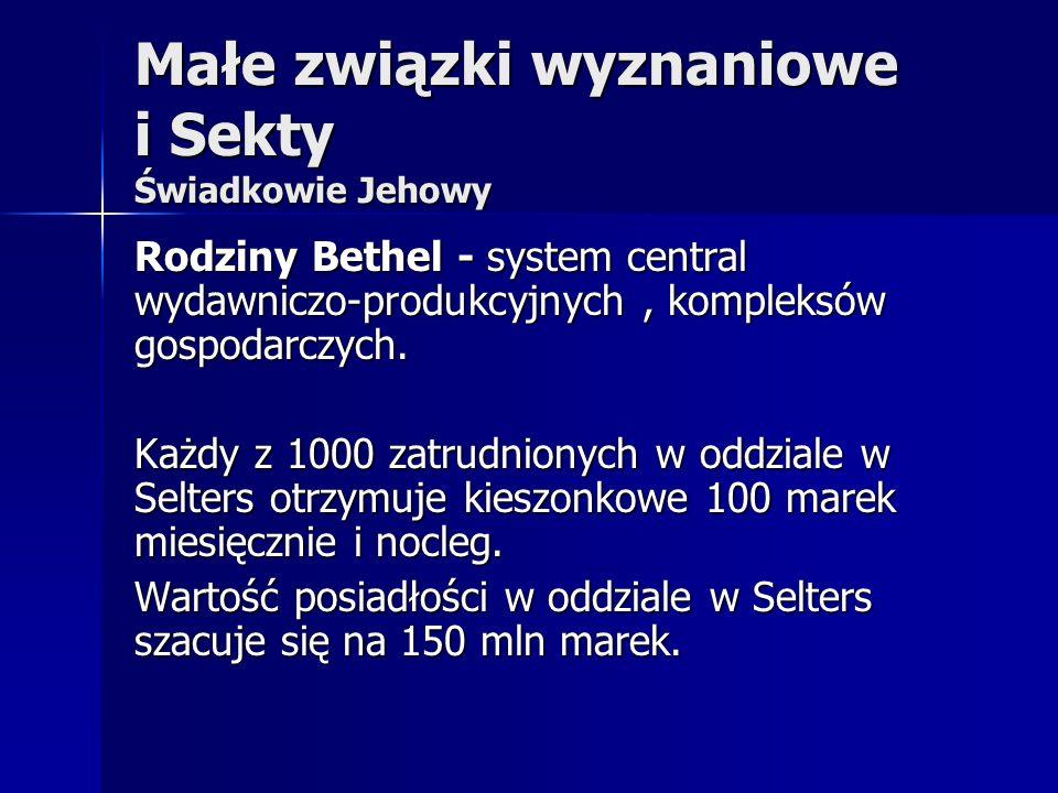 Małe związki wyznaniowe i Sekty Świadkowie Jehowy Rodziny Bethel - system central wydawniczo-produkcyjnych, kompleksów gospodarczych. Każdy z 1000 zat