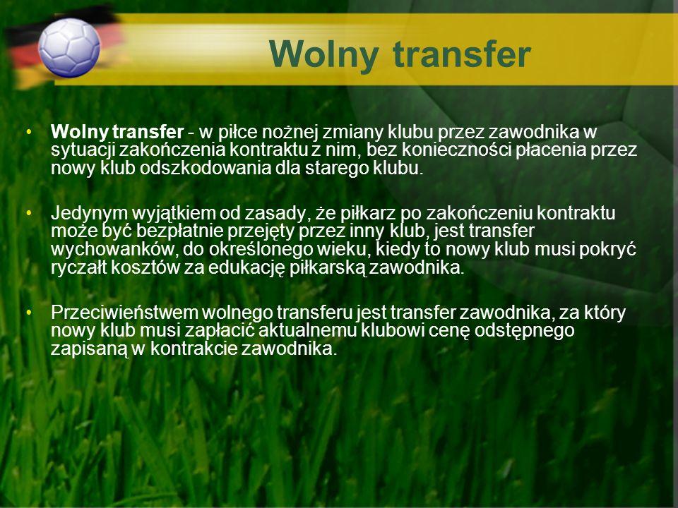 Wolny transfer Wolny transfer - w piłce nożnej zmiany klubu przez zawodnika w sytuacji zakończenia kontraktu z nim, bez konieczności płacenia przez no