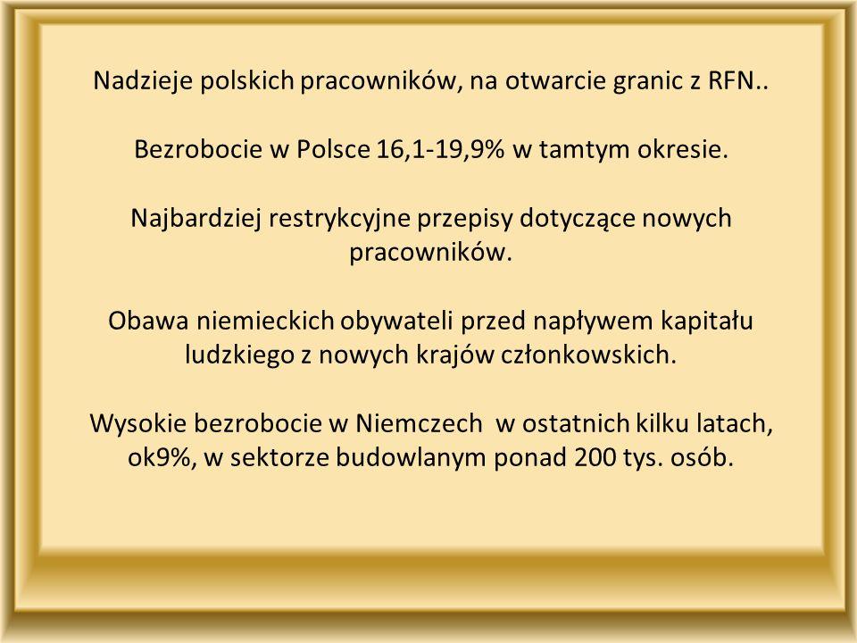 Nadzieje polskich pracowników, na otwarcie granic z RFN.. Bezrobocie w Polsce 16,1-19,9% w tamtym okresie. Najbardziej restrykcyjne przepisy dotyczące