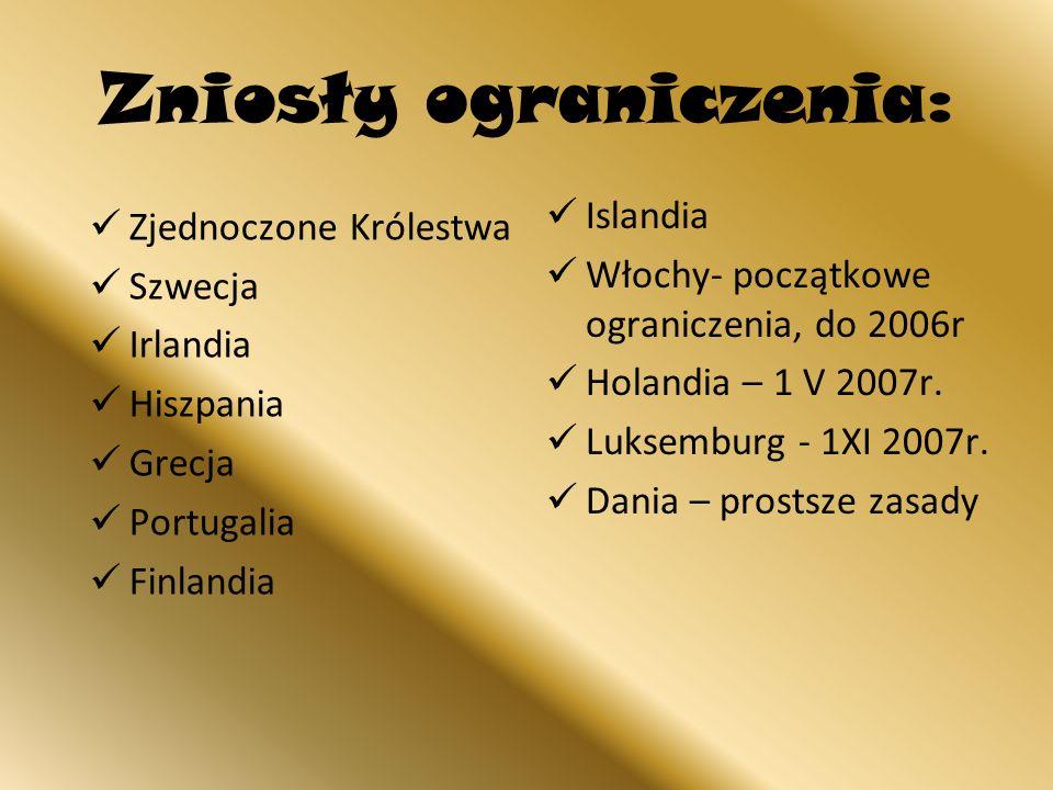 Zniosły ograniczenia: Islandia Włochy- początkowe ograniczenia, do 2006r Holandia – 1 V 2007r. Luksemburg - 1XI 2007r. Dania – prostsze zasady Zjednoc