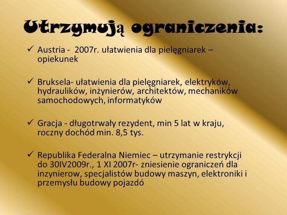 Utrzymuj ą ograniczenia: Austria - 2007r. ułatwienia dla pielęgniarek – opiekunek Bruksela- ułatwienia dla pielęgniarek, elektryków, hydraulików, inży