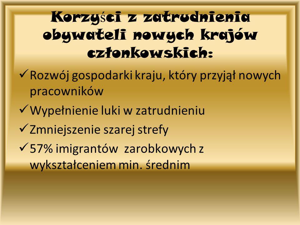 Korzy ś ci z zatrudnienia obywateli nowych krajów członkowskich: Rozwój gospodarki kraju, który przyjął nowych pracowników Wypełnienie luki w zatrudni