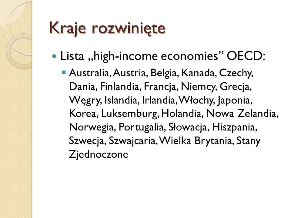 Kraje rozwinięte Lista advanced economies IMF Australia, Austria, Belgia, Kanada, Cypr, Dania, Finlandia, Francja, Niemcy, Grecja, Hong Kong, Islandia, Irlandia, Włochy, Japonia, Korea, Luksemburg, Malta, Holandia, Nowa Zelandia, Norwegia, Portugalia, Singapur, Słowenia, Hiszpania, Szwecja, Szwajcaria, Tajwan, Wielka Brytania, Stany Zjednoczone