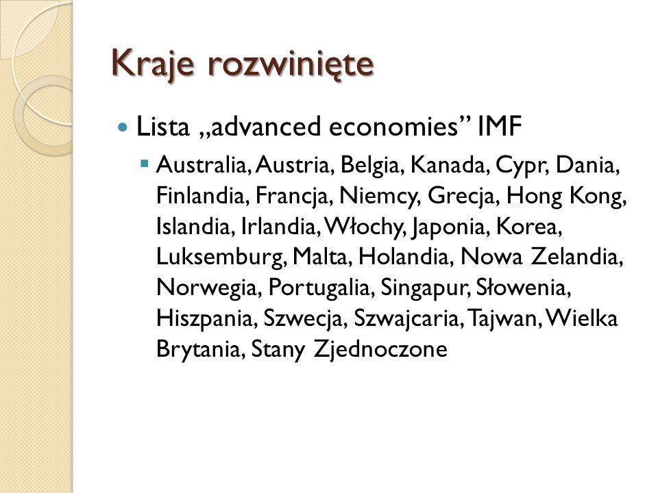 Kraje rozwinięte Kraje znajdujące się na wszystkich trzech listach Australia, Austria, Belgia, Kanada, Dania, Finlandia, Francja, Niemcy, Grecja, Islandia, Irlandia, Włochy, Japonia, Korea, Luksemburg, Holandia, Nowa Zelandia, Norwegia, Portugalia, Słowenia, Hiszpania, Szwecja, Szwajcaria, Wielka Brytania, Stany Zjednoczone