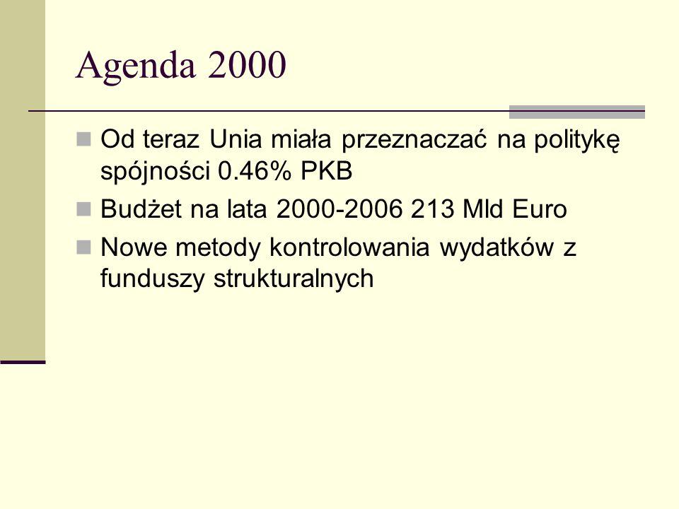 Agenda 2000 Od teraz Unia miała przeznaczać na politykę spójności 0.46% PKB Budżet na lata 2000-2006 213 Mld Euro Nowe metody kontrolowania wydatków z funduszy strukturalnych