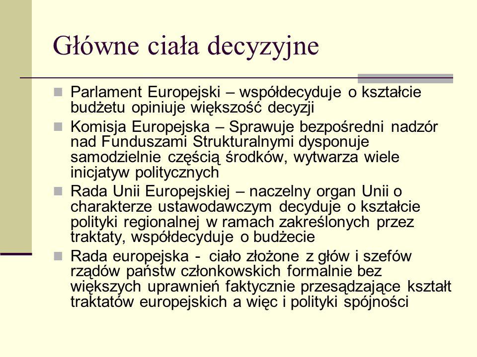 Główne ciała decyzyjne Parlament Europejski – współdecyduje o kształcie budżetu opiniuje większość decyzji Komisja Europejska – Sprawuje bezpośredni nadzór nad Funduszami Strukturalnymi dysponuje samodzielnie częścią środków, wytwarza wiele inicjatyw politycznych Rada Unii Europejskiej – naczelny organ Unii o charakterze ustawodawczym decyduje o kształcie polityki regionalnej w ramach zakreślonych przez traktaty, współdecyduje o budżecie Rada europejska - ciało złożone z głów i szefów rządów państw członkowskich formalnie bez większych uprawnień faktycznie przesądzające kształt traktatów europejskich a więc i polityki spójności