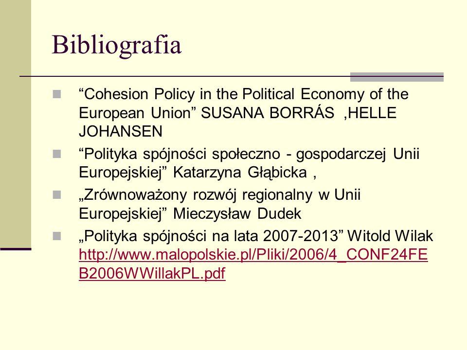 Bibliografia Cohesion Policy in the Political Economy of the European Union SUSANA BORRÁS,HELLE JOHANSEN Polityka spójności społeczno - gospodarczej U