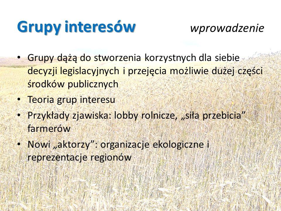 Grupy interesów Grupy interesów wprowadzenie Grupy dążą do stworzenia korzystnych dla siebie decyzji legislacyjnych i przejęcia możliwie dużej części