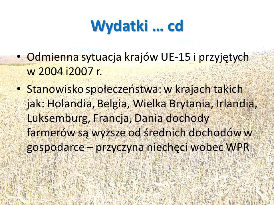 Wydatki … cd Odmienna sytuacja krajów UE-15 i przyjętych w 2004 i2007 r. Stanowisko społeczeństwa: w krajach takich jak: Holandia, Belgia, Wielka Bryt