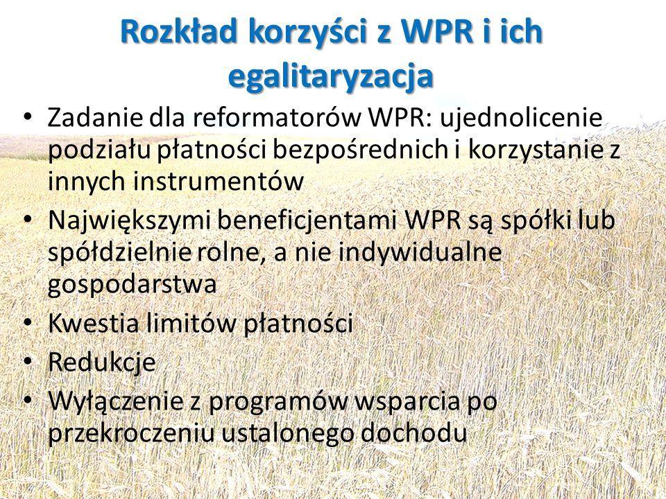 Rozkład korzyści z WPR i ich egalitaryzacja Zadanie dla reformatorów WPR: ujednolicenie podziału płatności bezpośrednich i korzystanie z innych instru
