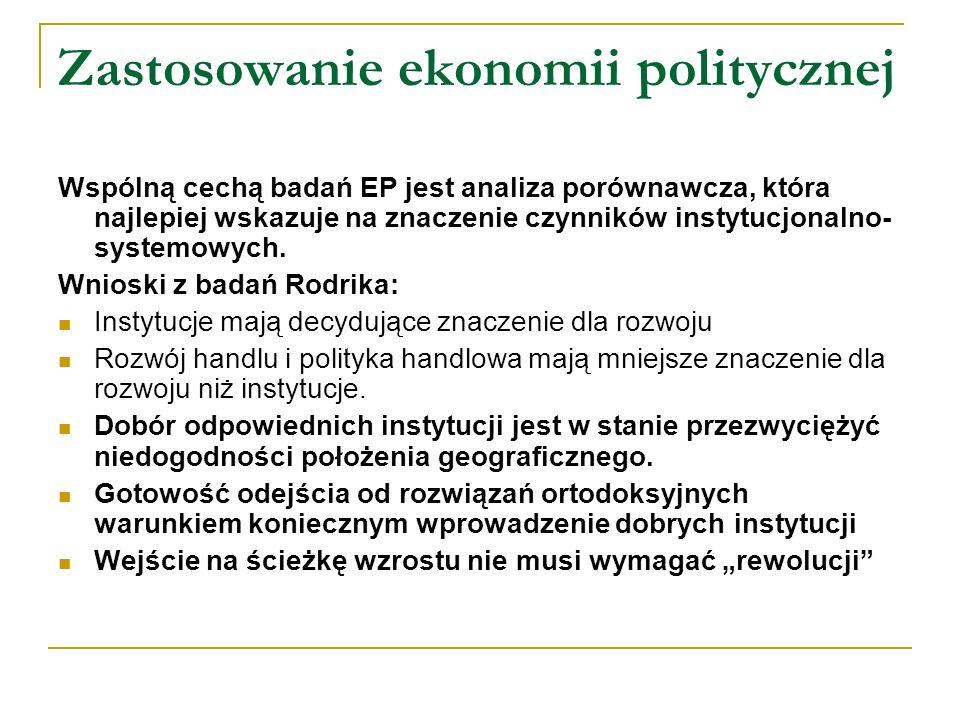 Zastosowanie ekonomii politycznej Wspólną cechą badań EP jest analiza porównawcza, która najlepiej wskazuje na znaczenie czynników instytucjonalno- sy