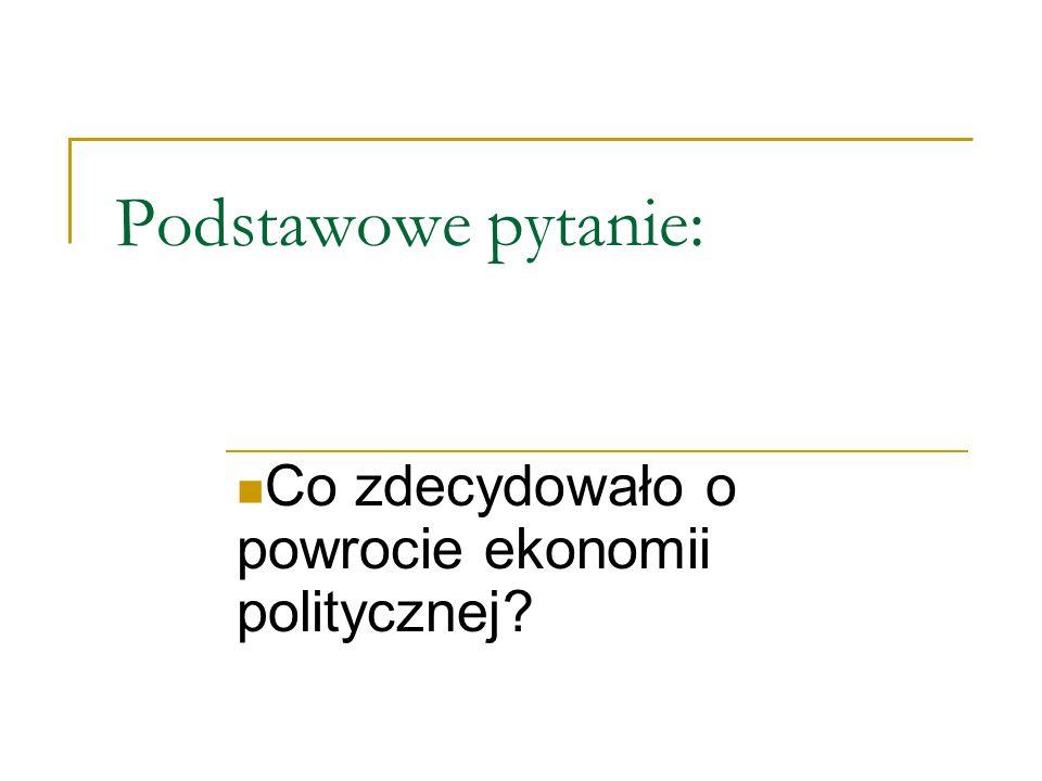 Podstawowe pytanie: Co zdecydowało o powrocie ekonomii politycznej?
