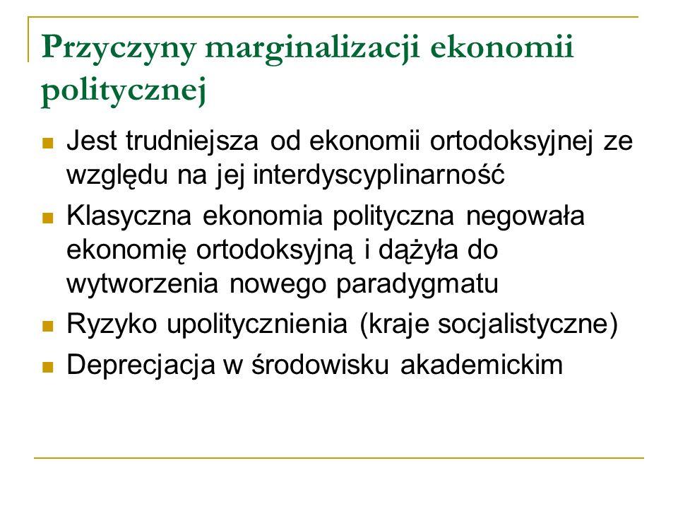 Przyczyny marginalizacji ekonomii politycznej Jest trudniejsza od ekonomii ortodoksyjnej ze względu na jej interdyscyplinarność Klasyczna ekonomia pol