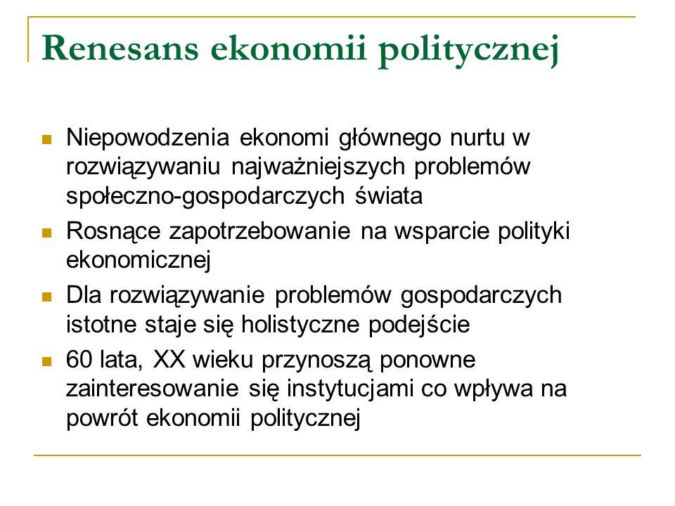 Renesans ekonomii politycznej Niepowodzenia ekonomi głównego nurtu w rozwiązywaniu najważniejszych problemów społeczno-gospodarczych świata Rosnące za