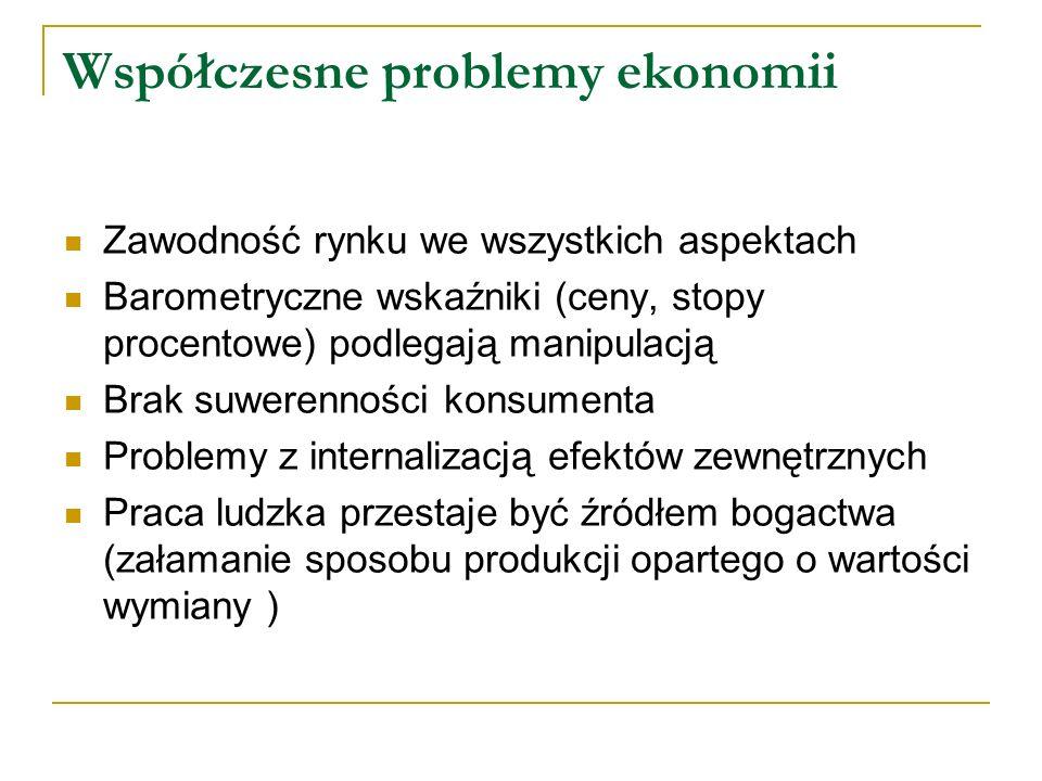 Współczesne problemy ekonomii Zawodność rynku we wszystkich aspektach Barometryczne wskaźniki (ceny, stopy procentowe) podlegają manipulacją Brak suwe
