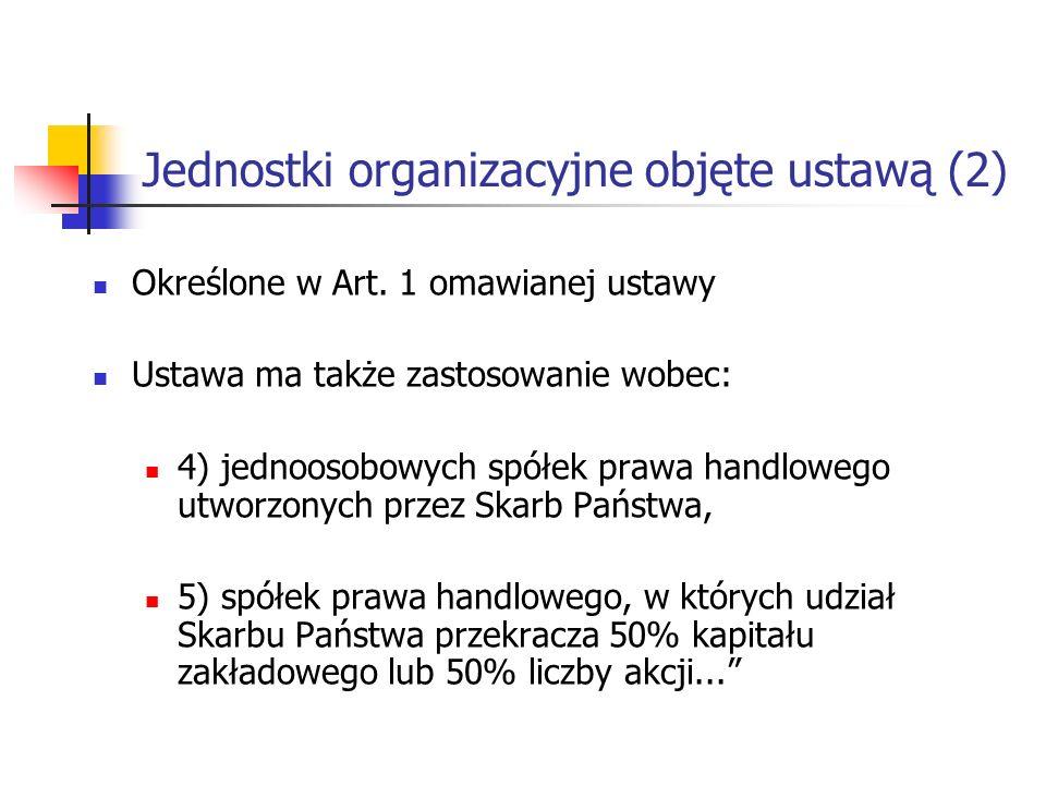 Jednostki organizacyjne objęte ustawą (2) Określone w Art.